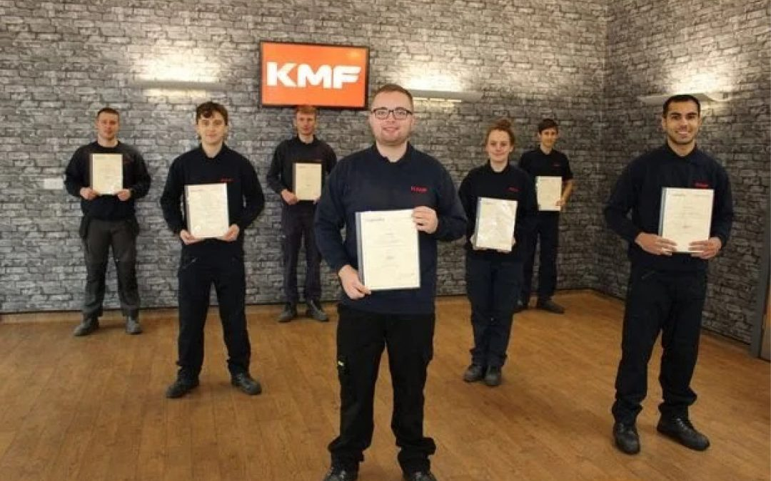Engineering firm KMF hands permanent jobs to group of newly-qualified apprentices